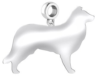 Border Collie Dog Charm | Border Collie Silhouette Charm | Fits All European Style Bracelets | Sterling Silver | Border Collie Earrings