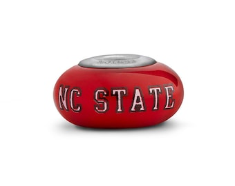 North Carolina State Wolfpack Glass Bead Fits European Style Bracelets