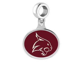 Texas State Bobcats Silver Dangle Charm Fits All Bead Style Charm Bracelets