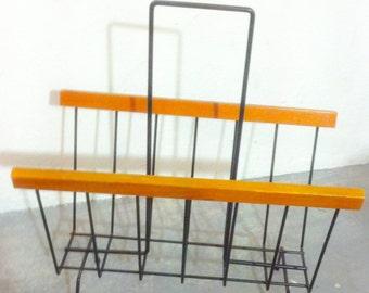 Mid century string magazine rack