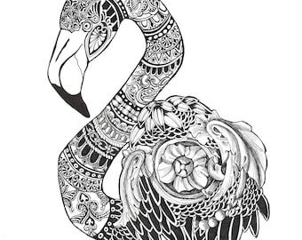 "Original Pen & Ink Drawing  ""Zentangled Flamingo"" By Artist D. Rosendahl~ Zentangle Art~ 16"" x 16"""