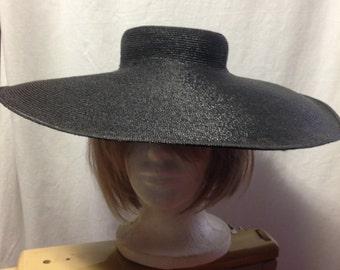 Gorgeous, black, straw, 1940s vintage, wide brim hat.  Great for beach wear, cruise wear, boat wear, garden parties, tea parties.