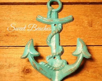 Heavy Duty  Anchor  Coat Hook Weather Distressed Look  Beach Seaside Nautical  Decor