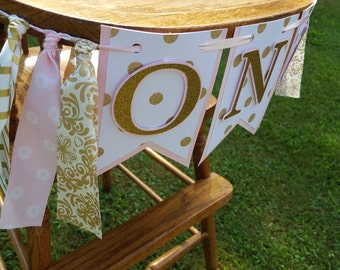 pink and gold first birthday banner * ONE banner * pink and gold rag garland banner* first birthday banner * high chair * pink and gold