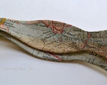 Map Bow Tie - Mens Bow Ties - Self-Tie Bow Tie - Map Bowtie - Bow Ties for Men - Tan Bow Tie - Bow Ties Are Cool - Gifts for Men