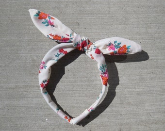 Adjustable Bunny Bow Korean Style Headband in Red and Orange Floral