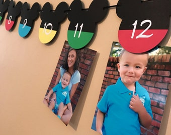 Mickey Mouse 12 month photo banner, Mickey Mouse banner, 12 month banner, Mickey Mouse birthday decorations, photo banner