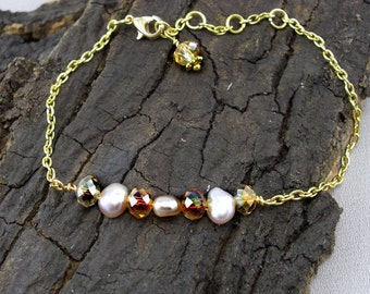 Bracelet Crystals Gold Beads