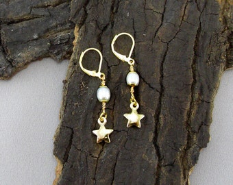 Earrings Star Beads Gold Plated