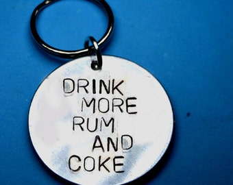 Rum, Gifts for men, Personalised keyring, Rum and coke, Handstamped keychains, UK, Fun gift, Funny quote, gifts, Party gift, Fun,drink rum