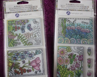 Set of 2 Coloring Clear Stamp Packs