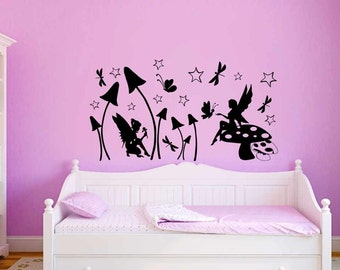 Fairy Wall Sticker, Fairies and Butterflies Girls Bedroom Nursery Playroom Home Wall Sticker