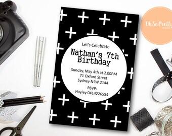 Black & White Monochrome Birthday Invitation - Printable Download - DESIGN 079
