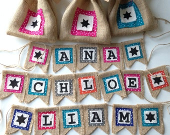 Personalised burlap bunting with gift bag