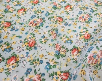 """Sky """"Tea Party"""" Summer Floral Printed 100% Cotton VOILE Fabric"""