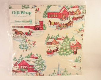 """Vintage Christmas Wrapping Paper  (new unopened package) 2 sheets 20"""" by 30"""""""