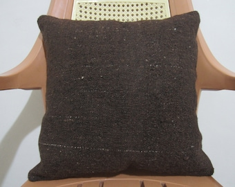 16 x 16 Natural Wool Brown Color Falt Hand Woven Vintage Kilim Pillow Decorative Pillow cover