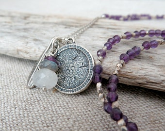 Amethyst Necklace, Long Necklace, Sterling Silver Jewelry, Charm Necklace, Tribal Jewelry, Silver Medallion, Purple Jewelry, Gifts for Her
