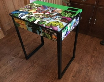 Vintage children's school desk upcycled for Incredible Hulk lovers