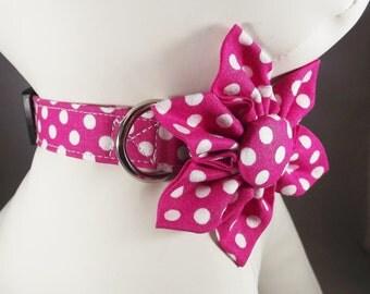 Valentine's Cat Collar, Polka Dot Cat Collar, Pink Cat Collar, Pink Kitten Collar, cat bell and collar flower or Bow tie optional, Breakaway