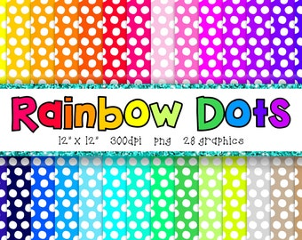 Rainbow Dots Digital Paper Set - Scrapbook Paper -  BRIGHTS - 28 Graphics - 300dpi - 12x12 - PNG - Commercial/Personal - Instant Download