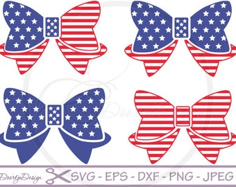 SVG 4th of July Bows, dxf files 4th of July Bows, eps files, SVG files cricut, Cutouts, Clip Art, cutting files, Vector Graphics