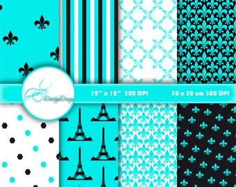 Paris Digital Paper Download, Digital Background Paper Pack, Paris Digital Pattern, Digital Scrapbook Paper 370