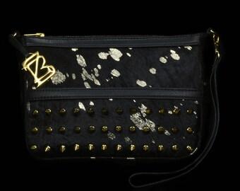 Zaryba-black/gold-zwart/goud clutch Blakie (hairy leather)