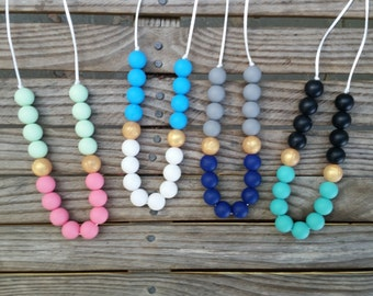 A Touch of Gold*Silicone Teething/Nursing Necklace