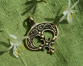 Slavic Lunula pendant Necklace for women Luna Talisman for women Charm for women Medieval jewelry Lunitsa Pendant Moon pendant Сrescent