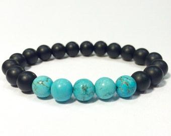 Onyx bracelet,Onyx bracelet and turquoise,Turquoise bracelet,Onyx turquoise bracelet,raw turquoise bracelet,mala jasper Brace