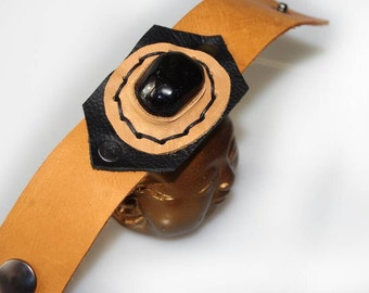 Distressed Brown Tan Leather Cuff Bracelet Obsidian Crystal Protection Stone September Birthstone Hemp Rivets Genuine Leather Wristband OOAK