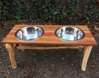 Reclaimed Wood Dog Bowl Stand: Oak/Maple