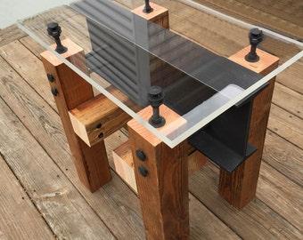 Industrial Side Table/ Coffee Table/ Modern Wood Side Table/ Industrial  Furniture