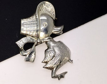 Estate Jewelry Vintage Sterling Silver Proud Chick or Duck Brooch