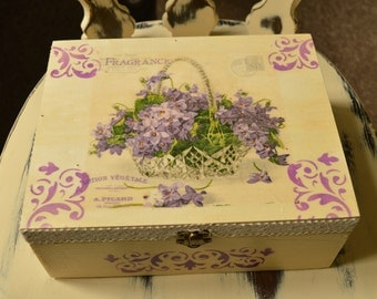 Large wooden box, Decoupage, Floral box