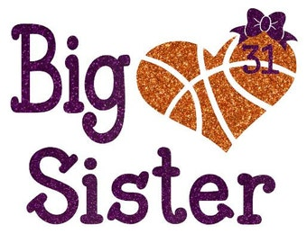Basketball Big Sister Heart Shirt Personalized With Number