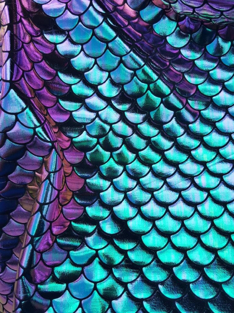New fish scales mermaid iridescent tone spandex fabric sold by for Fish scale fabric