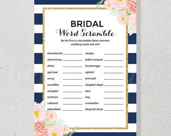 30% OFF Navy and Gold Bridal Word Scramble Game, Watercolor Wedding Shower, Spade Inspired - SKUHDG13