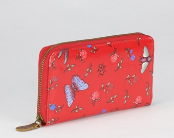 Oilcloth Zip around Wallet - Dragonfly Butterfly - Oil cloth ladies purse - Ladies Zip wallet - Coin purse- Laminated cotton- Iphone Plus