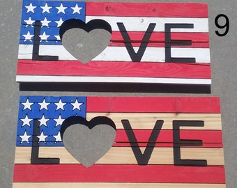 Patriotic signs LOVE and HOME