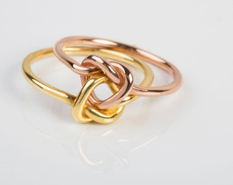 Double love Knot Ring,SOLID  GOLD, double love knot ring  , Wedding ring , Braidmade ring , Heart  knot ring, alternative engagement ring