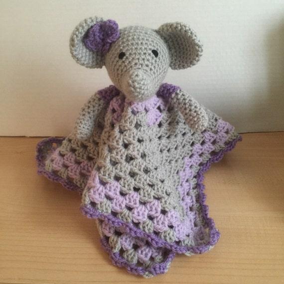 Amigurumi Elephant Snuggle : Crochet Snuggle Elephant Lovey Security by HookedWithYarnShop