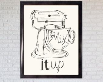 Mix It Up   Kitchen Print   Illustration   Gift
