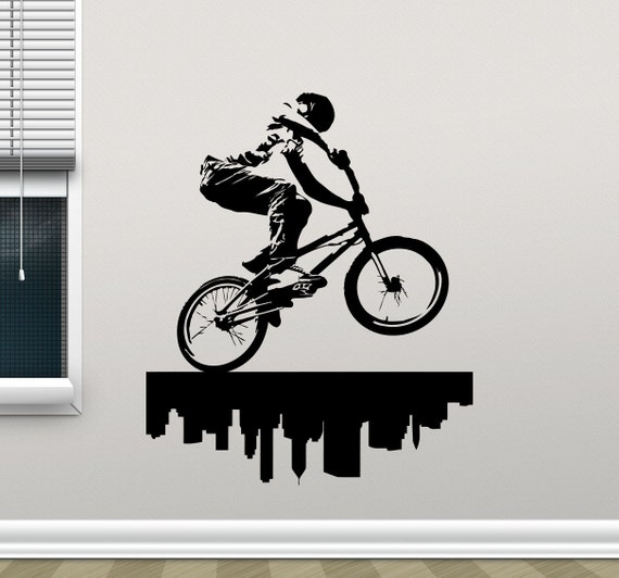 BMX Bike Wall Decal BMX Bicycler City Street by CrazyDecals
