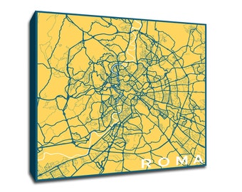 Roma Map printed on gallery-wrapped canvas