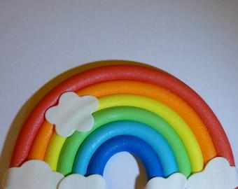 Medium Rainbow Edible sugar paste cake topper decoration birthday party