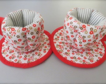 Cute textile tea cups and plates tilda