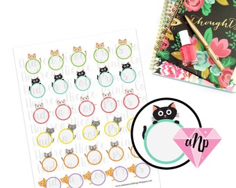 Printable Cat Memo Note Todo Planner Stickers for ECLP and Similar Planners