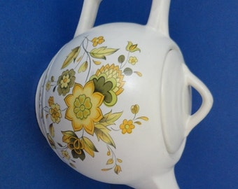 Vintage McCoy Teapot, Cream White, Yellow Flowers Design